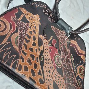 Genuine Leather Handbag Purse Giraffe Vintage
